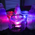 selenite with pink and purple lights