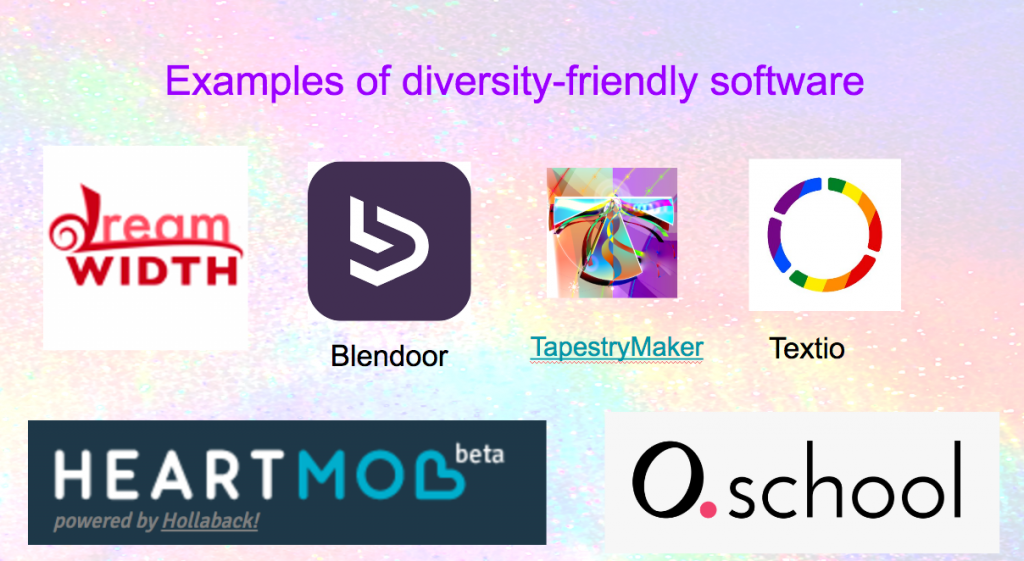 Logos for Dreamwidth, Blendoor, TapestryMaker, Textio, Heartmob, and O.school