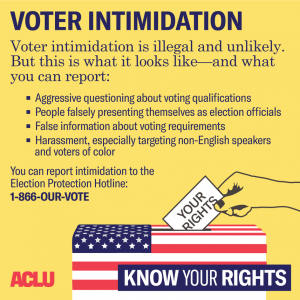 Voter Intimidation is illegal and unlikel. But this is what it looks like - and what you can report.