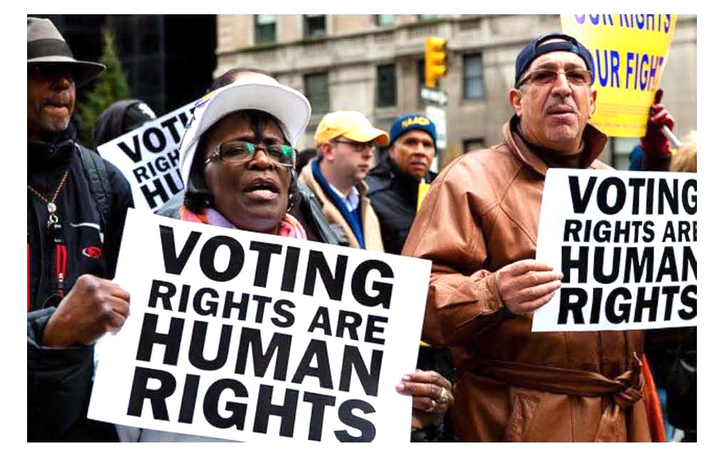 "People carrying signs saying ""Voing Rights are Human Rights"""