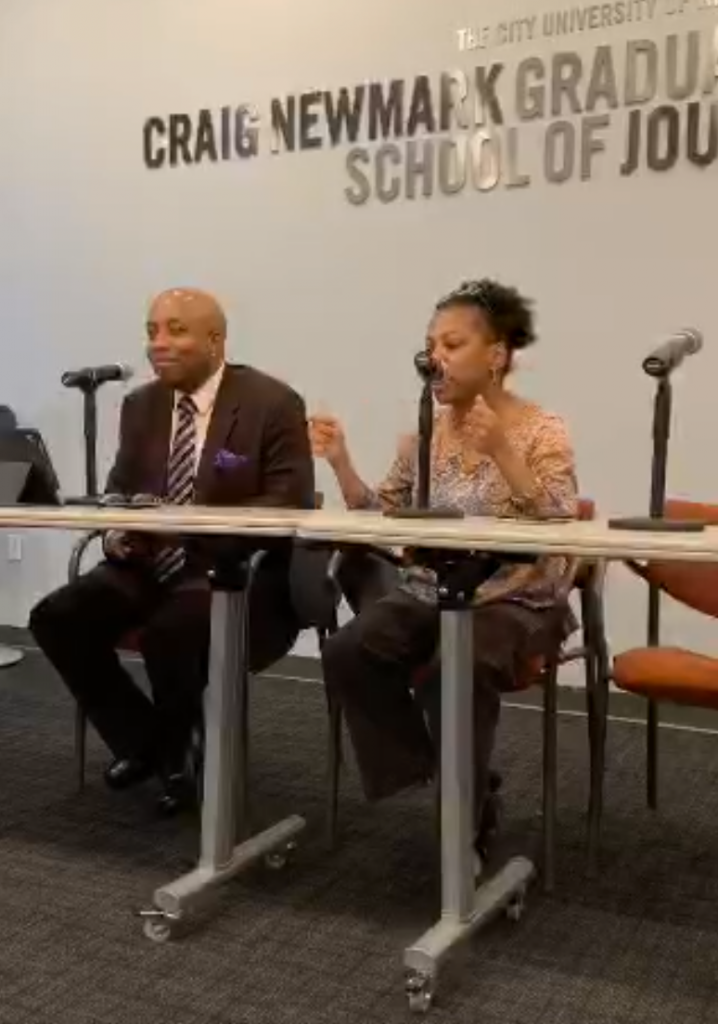 Shireen Mitchell, with Errol Louis, at CUNY discussing Disinformation targeting Black communities